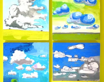 4 Cloud Paintings 16 x 16 x 3/4 original acrylic paintings, set of four, landscape paintings, abstract landscape, clouds