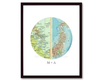 Personalized Anniversary Gift, Unique Engagement Gift, Wedding Gift, Map Art, Birthday Gift, Circle Art, Map Wall Decor