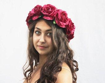 Velvet Rose Flower Crown, Rose Crown, Flower Headpiece, Magenta, Pink, Large Red Rose Crown, Rose Headdress, Rose Headpiece, Bohemian, Boho
