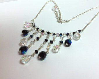 Black and clear necklace - Aurora Borealis Czech Fire polished glass beads - Free shipping to CANADA and USA