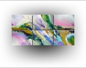 Skye Taylor Original Abstract Art Pink Green Blue Orange Wall Art, Somewhere in Time, 72 x 36, Abstract Painting Modern Art...Ready to hang