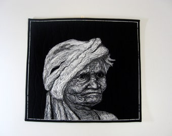 "Quilted Fiber Art  Portrait of ""Guatemalan Poppy""  Wall Hanging  Art Quilt  Multi Media Decor  Black and White Art Sally Manke wallhanging"