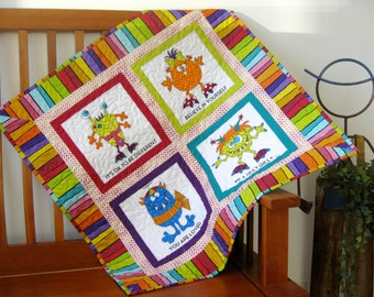 Children's Wall Hanging Baby Quilt - Quilted Toddler Blanket - Silly Gilly Stroller Baby Quilt Animal Baby Quilt - Colorful Baby Quilt Crib