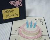 3D  Pop Up Birthday Card - Birthday Card - Pop Up Card - Birthday Cake (04/05)