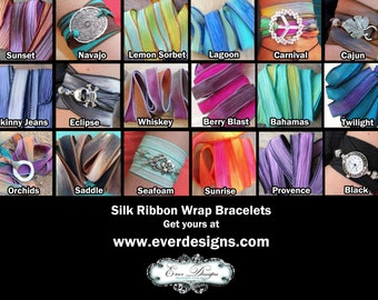 Extra Silk Ribbon - Hand Dyed Silk Ribbon in 18 Colors - Silk Ribbon Wrap Bracelets