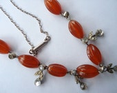Art Deco Carnelian Glass, Rhinestone and Marcasite Necklace  1930s 1920s