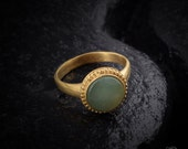 Gold ring, Green aventurine gemstone, antique design, August birthstone, gentle ring, classic and special,pinky ring,handmade