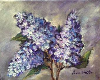 Lilacs flowers original floral painting on canvas 8 x 10
