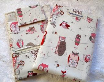 iPad Mini case, iPad Mini cover, iPad Min sleeve with zippered storage pocket - Owls  pink on cream