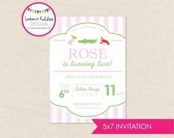 Louisiana Girl Birthday Invitation, Louisiana Girl Birthday, Louisiana Girl Printables, Alligator Decorations, Lauren Haddox Designs