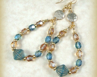 Earrings - Blue and Gold Earrings - Aqua Blue African Bicone with Aqua and Gold Fire Polished Beads - Classy Blue and Gold Dangles