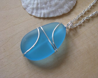 XL Wrapped Sea Glass Necklace Aqua Turquoise Blue Purple Man Made Sea Glass Beach Glass Bridesmaid Jewelry for Beach Wedding