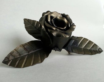 Neo-Victorian Brass Brushed Metal Rose Bud Steampunk Wedding Boutonniere Top Hat or Lapel Pin Accessory Boutineer