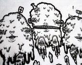 The Three Fates of Trash - Screen Print Silkscreen Art Back Patch