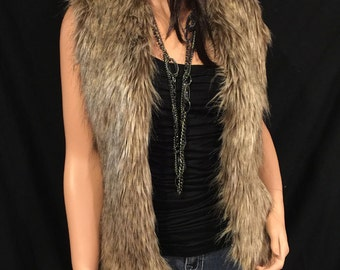 Faux Fur Vest Hip Length In Brown Wolf  Style: FVA503