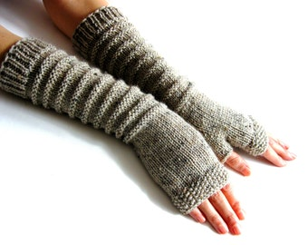 Beige tweed  Long Fingerless Gloves, Merino Wool Mittens, Arm Warmers , Hand Knitted, Eco Friendly