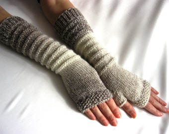 LONG Fingerless Gloves, Merino Wool Mittens, Arm Warmers , Hand Knitted, Eco Friendly