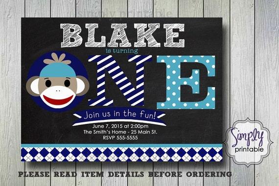 Sock Monkey Birthday Invite, 1st Birthday Invitation, Blue Chalkboard