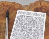 Norwich map 'A Fine City' postcard