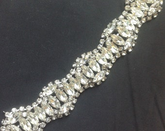 Vintage Kramer marquise wide rhinestone bracelet VJSE