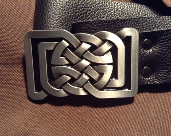 Black leather belt with Celtic Knot buckle