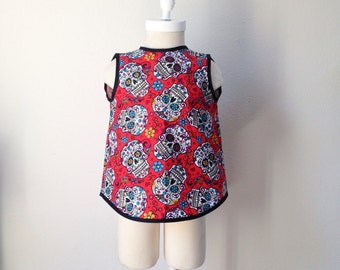 READY-TO-SHIP Rockabilly Pinafore Top - Size 4T - Baby - Punk - Sugar Skulls - Day of the Dead - Punk Baby Clothes - Rockabilly Baby