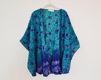 Upcycled Purple Vine Kimono