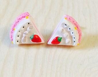 Adorable cake slice earrings
