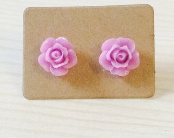 Small lilac rose earrings