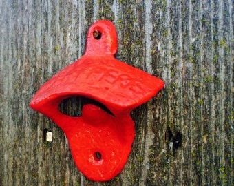 Bright red hand painted cast iron bottle opener