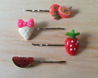 Kawaii orange strawberry and watermelon bobby pins