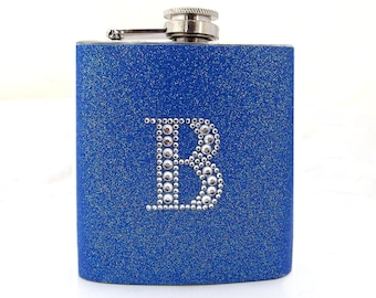 Blue Glitter Flask with Rhinestone Initial, Custom Flask, Bridal Flask, Bridesmaid Gift, 6oz Stainless Steel Hip Flask