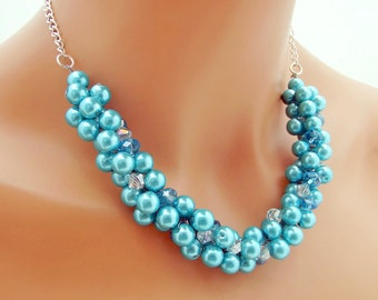 Chunky Blue Pearl Necklace, Bridesmaid Statement Necklace, Pearl Cluster Necklace, Turquoise Wedding Jewelry