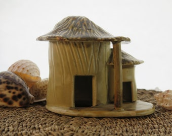 Vintage Fish Aquarium Ceramic Tiki Hut Two Rooms Marked Japan