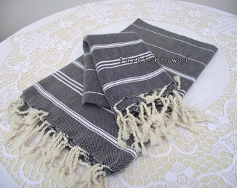 Turkishtowel-Set of 2-Hand woven peshkirs-hand,tea,dish towels-White stripes on black