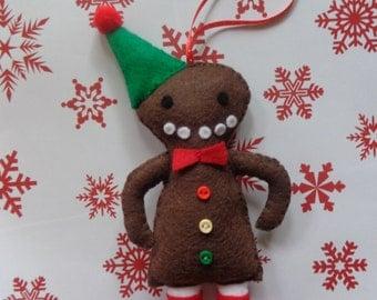 Jack The Gingerbread Man Felt Christmas Ornament by Pepperland