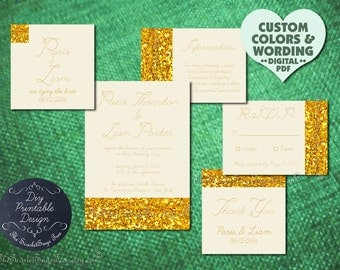 Classy Modern Gold Wedding Invitation Idea DIY Print / Order Prints Glitter Golden Anniversary Engagement Party Bridal Shower Baby Elegant