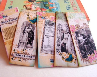 Bookmarks - Classic Literature Shakespeare Romeo And Juliet Tragedy Romance Stage Play Romantic Love Story - Set Of 5 Small Paper Bookmarks
