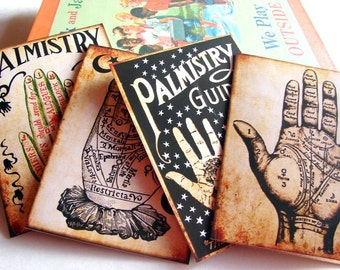 Palmistry Note Card Set - Palm Reading Fortune Teller Fortune Telling Palm Reader The Occult Palm Of The Hand Gypsy - 4 Sm Greeting Cards