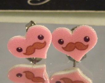 Pink Mustache Heart Stud Earrings surgical steel