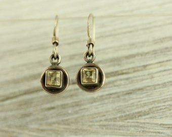 Vintage Citrine Sterling Silver Dangle Earrings Natural Stone Square Circle Design 925 Brilliant Light Yellow (ET277 )