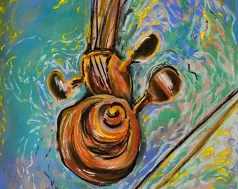 "Original Soft Pastel Painting, Violin ""Scroll"",  Original Pastel, Music Art Pastel, Wall Art, Fine Art, Large Pastel"