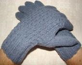 Hand knitted gray-blue warm men gloves