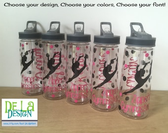 Personalized Clear plastic sport water bottle, Flip top w/ straw, 22 oz size, Cheer, dance, gymnastics, ice skating or other sport, name