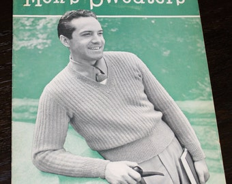 2 Men's Sweater Pattern Books 1950 Lacey's 1948 Red Heart Instructions S M L - B5