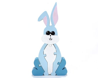 Easter Bunny Puzzle and Children's Room Decoration in Blue