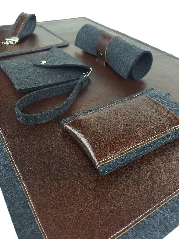 leather desk pad leather desk mat wool felt by