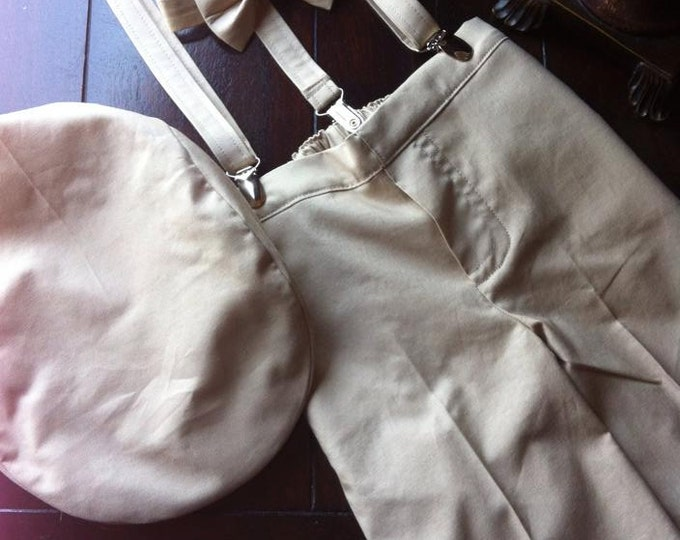 Cotton Ring Bearer Outfit; Ring Bearer Bow Tie, Ring Bearer Suspenders, and Pants. Wedding Outfit for Ringbearer