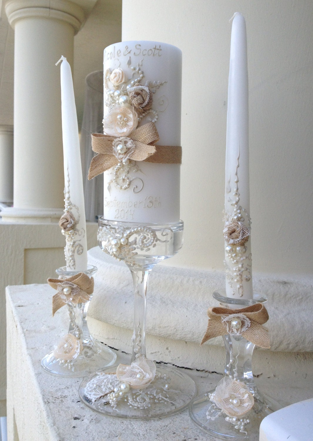 Rustic Chic Wedding Unity Candle Set 3 Candles And 3 Glass
