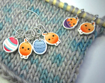 Easter chicks and eggs stitch Markers,  set of 6, lightweight, knitting